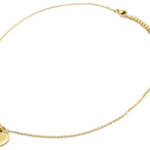 Collier-Fine-Chaine-Pendentif-Medaille-Coeur-Acier-Dore