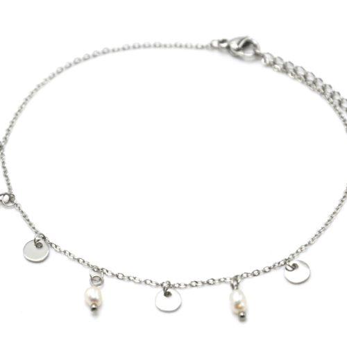 Fine-Chaine-Cheville-Acier-Argente-avec-Pampilles-Rondes-et-Perles-dEau-Douce