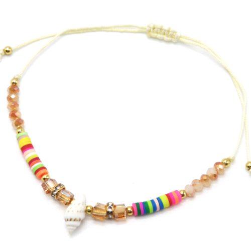 Chaine-de-Cheville-Cordon-avec-Pierres-Beiges-Pieces-Multicolores-et-Coquillage