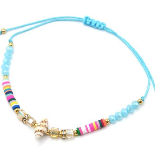 Chaine-de-Cheville-Cordon-avec-Pierres-Turquoises-Pieces-Multicolores-et-Coquillage
