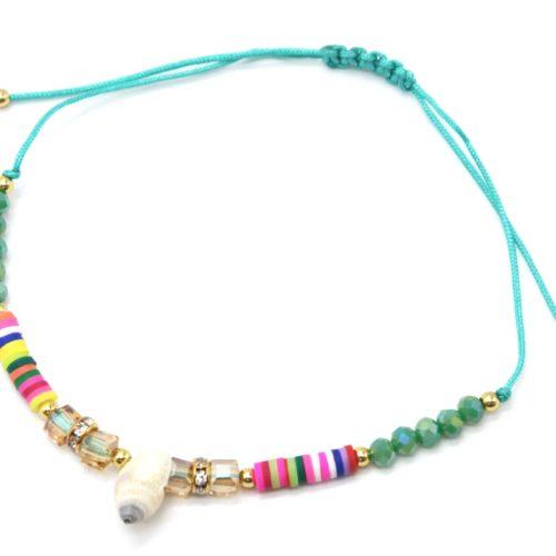 Chaine-de-Cheville-Cordon-avec-Pierres-Vertes-Pieces-Multicolores-et-Coquillage