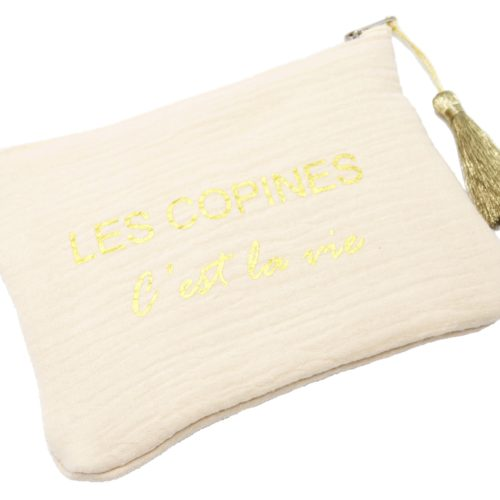 Trousse-Pochette-Coton-Beige-Message-Les-Copines-Cest-La-Vie-Dore