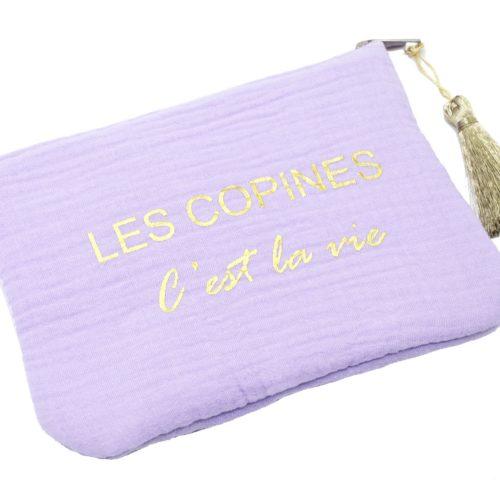 Trousse-Pochette-Coton-Lilas-Message-Les-Copines-Cest-La-Vie-Dore