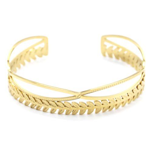 Bracelet-Jonc-Double-Rangs-Croises-et-Epi-de-Ble-Acier-Dore