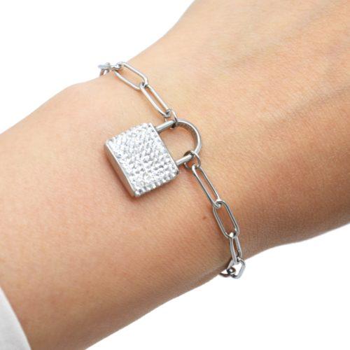 Bracelet-Chaine-Maillons-avec-Cadenas-Strass-et-Acier-Argente
