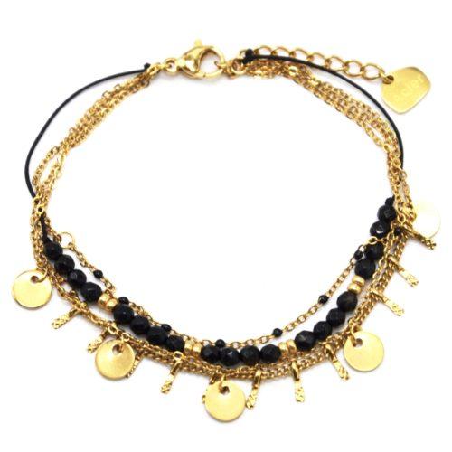 Bracelet-Multi-Rangs-avec-Pampilles-Acier-Dore-Mini-Perles-et-Pierres-Noires