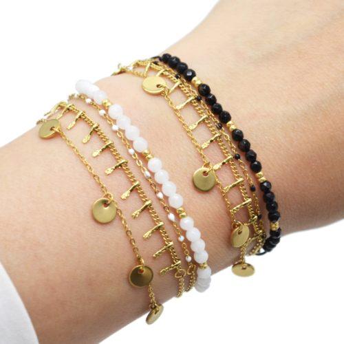 Bracelet-Multi-Rangs-avec-Pampilles-Acier-Dore-Mini-Perles-et-Pierres