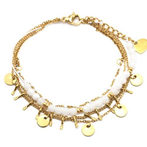Bracelet-Multi-Rangs-avec-Pampilles-Acier-Dore-Mini-Perles-et-Pierres-Blanches