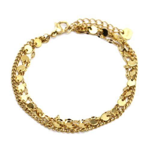 Bracelet-Triple-Chaines-avec-Mini-Cercles-et-Maillons-Acier-Dore