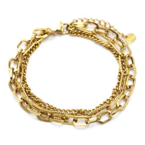 Bracelet-Triple-Chaines-Maillons-Assortis-Acier-Dore