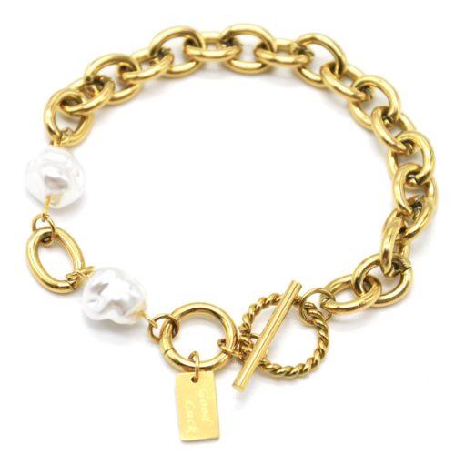 Bracelet-Chaine-Gros-Maillons-Cercle-et-Barre-Acier-Dore-et-Perles-dEau-Douce