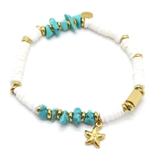 Bracelet-Perles-Blanches-Coquillage-Pierres-Turquoises-et-Etoile-de-Mer-Acier-Dore