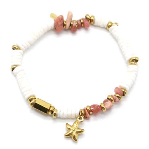 Bracelet-Perles-Blanches-Coquillage-Pierres-Roses-et-Etoile-de-Mer-Acier-Dore