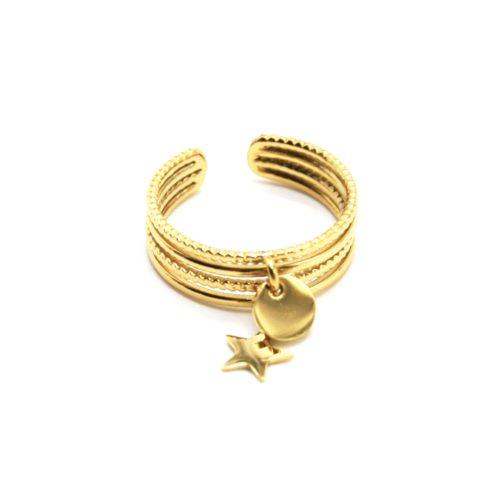 Bague-Multi-Rangs-avec-Pampilles-Medaille-et-Etoile-Acier-Dore