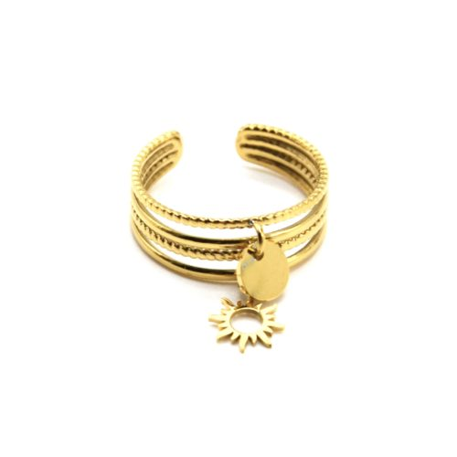 Bague-Multi-Rangs-avec-Pampilles-Medaille-et-Soleil-Acier-Dore