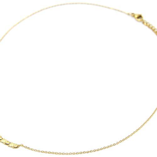 Collier-Fine-Chaine-Pendentif-Bande-Ovales-Unis-et-Marteles-Acier-Dore