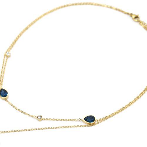 Collier-Double-Chaines-Acier-Dore-Pendentif-Oeil-Strass-et-Pierres-Gouttes-Bleues
