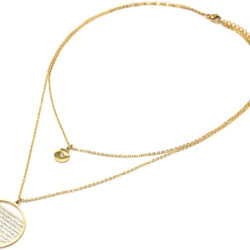 Collier-Double-Chaines-avec-Medailles-Acier-Dore-Multi-Rangs-Strass
