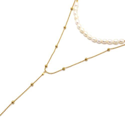 Collier-Double-Chaines-avec-Perles-dEau-Douce-et-Billes-Acier-Dore