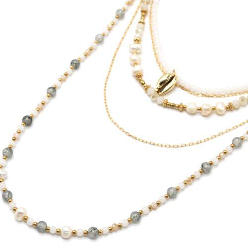 Sautoir-Collier-Multi-Rangs-Perles-dEau-Douce-et-Pierres-Ecru-Gris-avec-Cauri