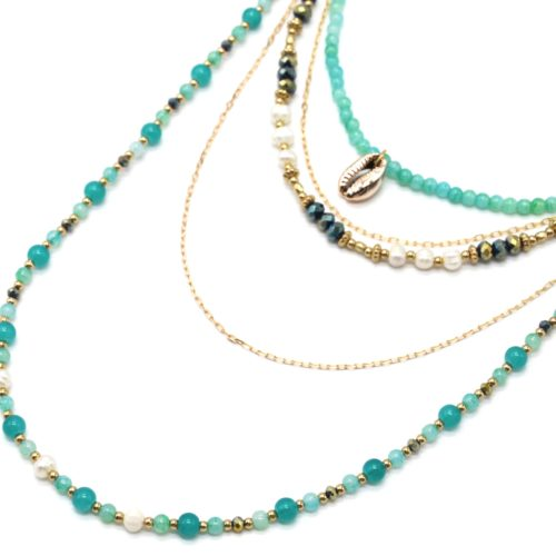 Sautoir-Collier-Multi-Rangs-Perles-dEau-Douce-et-Pierres-Vertes-avec-Cauri