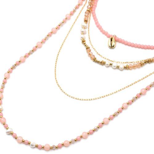 Sautoir-Collier-Multi-Rangs-Perles-dEau-Douce-et-Pierres-Roses-avec-Cauri