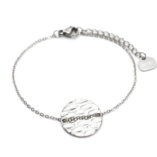 Bracelet-Fine-Chaine-avec-Medaille-Ronde-Martelee-Acier-Argente