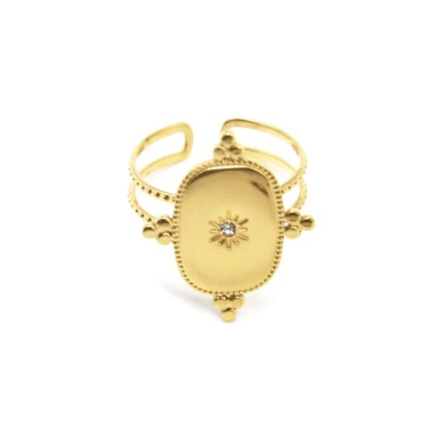 Bague-Anneau-avec-Medaille-Baroque-Soleil-Acier-Dore-et-Strass