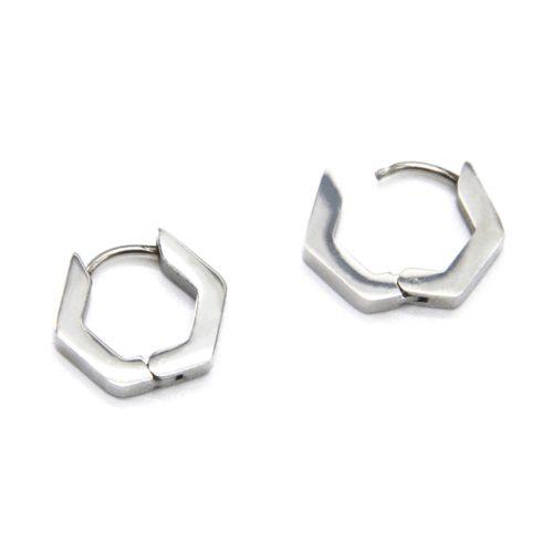 Boucles-dOreilles-Mini-Creoles-Hexagone-Contour-Acier-Argente