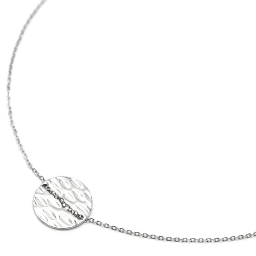 Collier-Fine-Chaine-Pendentif-Medaille-Ronde-Martelee-Acier-Argente