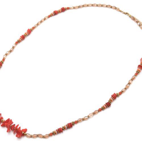 Sautoir-Collier-Perles-Oranges-avec-Coquillages-et-Pierres-Rouge-Orange
