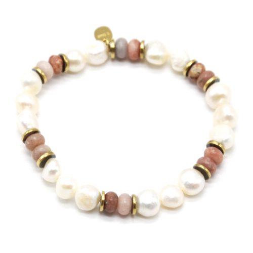 Bracelet-Perles-dEau-Douce-Pierres-Marron-et-Anneaux-Acier-Dore