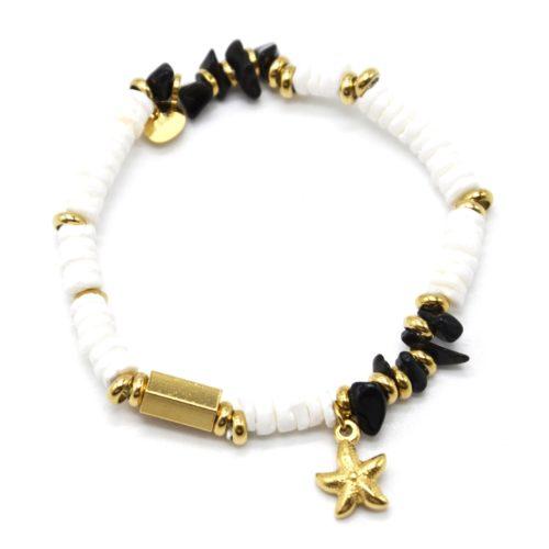 Bracelet-Perles-Blanches-Coquillage-Pierres-Noires-et-Etoile-de-Mer-Acier-Dore