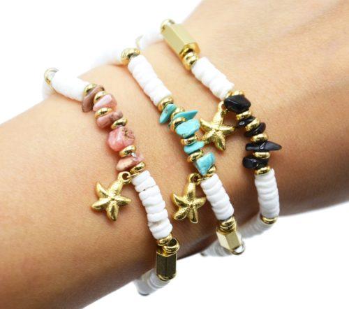 Bracelet-Perles-Blanches-Coquillage-Pierres-Couleur-et-Etoile-de-Mer-Acier-Dore