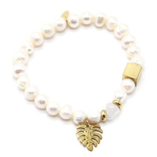 Bracelet-Perles-dEau-Douce-et-Pierre-avec-Feuille-Acier-Dore