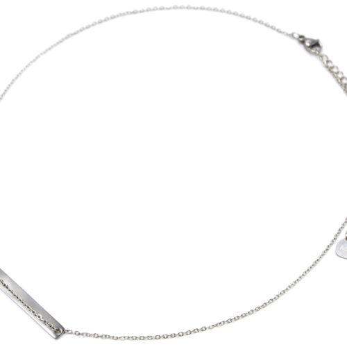 Collier-Fine-Chaine-Pendentif-Medaille-Rectangle-Acier-Argente