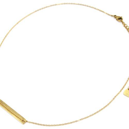 Collier-Fine-Chaine-Pendentif-Medaille-Rectangle-Acier-Dore