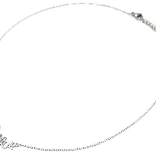 Collier-Fine-Chaine-Pendentif-Lettres-Amour-Acier-Argente