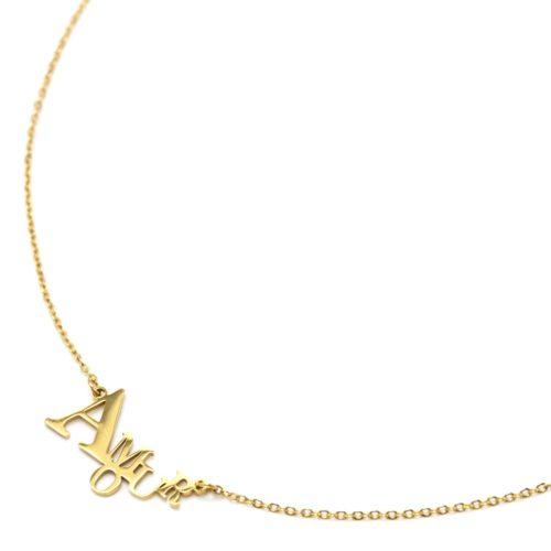 Collier-Fine-Chaine-Pendentif-Lettres-Amour-Acier-Dore