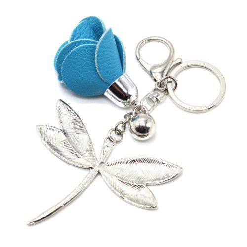 Porte-Cles-Bijou-de-Sac-Libellule-Motif-Liberty-Bleu-avec-Fleur-Simili-Cuir