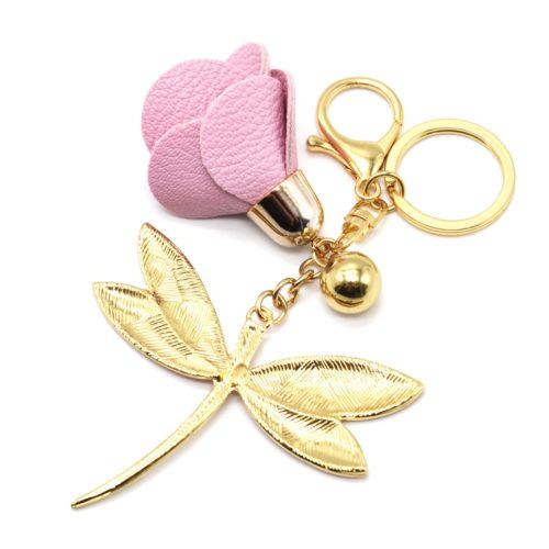 Porte-Cles-Bijou-de-Sac-Libellule-Motif-Liberty-Rose-avec-Fleur-Simili-Cuir