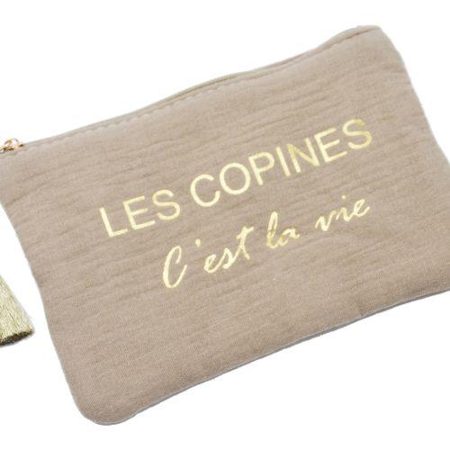 Trousse-Pochette-Coton-Taupe-Message-Les-Copines-Cest-La-Vie-Pompon-Dore