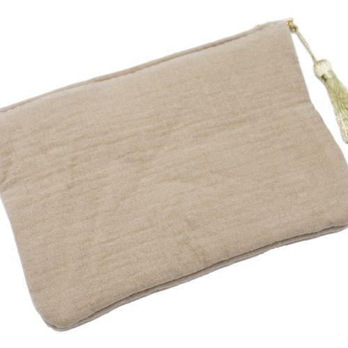 Trousse-Pochette-Coton-Taupe-Message-et-Pompon-Dore