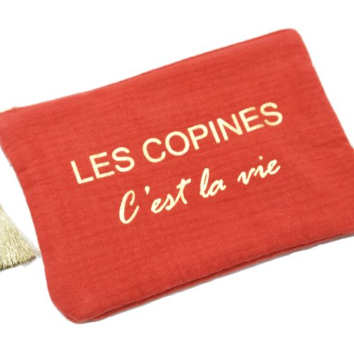 Trousse-Pochette-Coton-Rouge-Orange-Message-Les-Copines-Cest-La-Vie-Pompon-Dore
