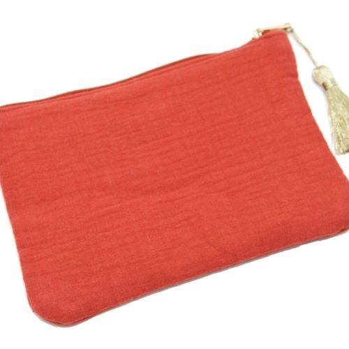 Trousse-Pochette-Coton-Rouge-Orange-Message-et-Pompon-Dore