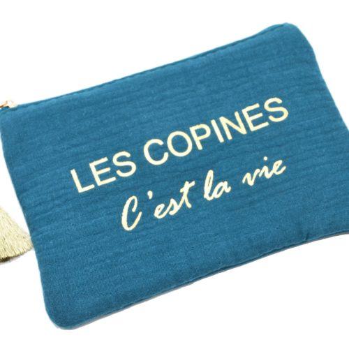 Trousse-Pochette-Coton-Bleu-Canard-Message-Les-Copines-Cest-La-Vie-Pompon-Dore