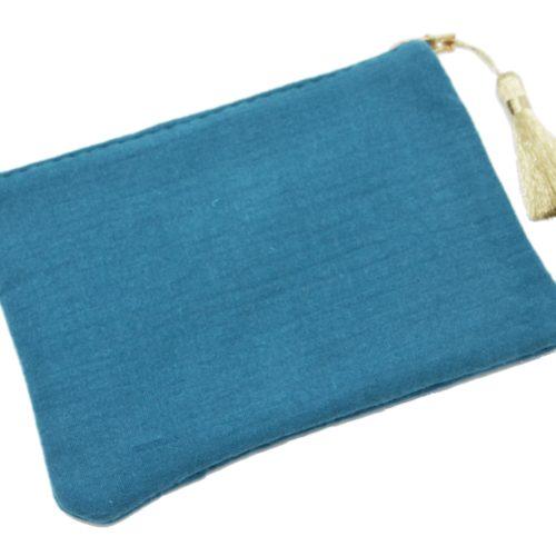 Trousse-Pochette-Coton-Bleu-Canard-Message-et-Pompon-Dore