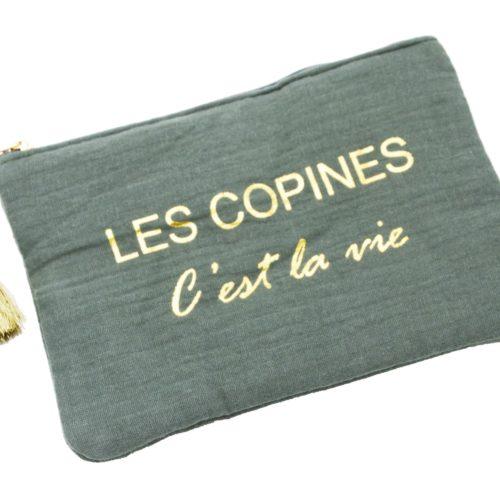 Trousse-Pochette-Coton-Vert-Gris-Message-Les-Copines-Cest-La-Vie-Pompon-Dore