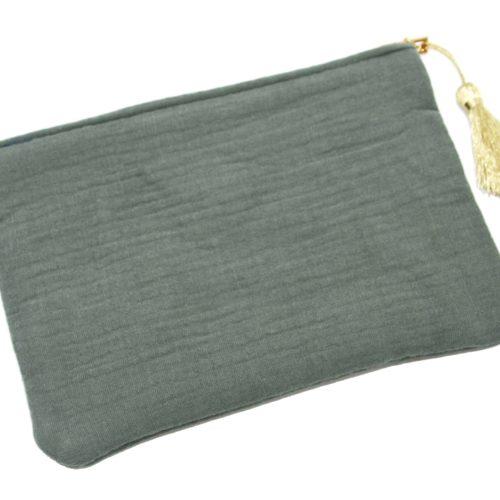 Trousse-Pochette-Coton-Vert-Gris-Message-et-Pompon-Dore