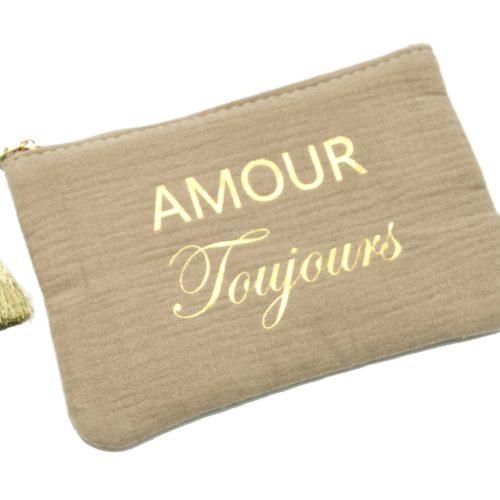 Trousse-Pochette-Coton-Taupe-Message-Amour-Toujours-Pompon-Dore